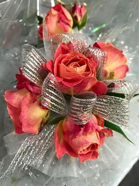wristlet corsage  coral spray roses silver mesh