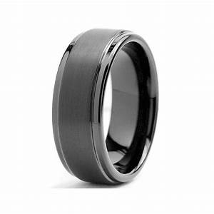 8mm Black High Polish Matte Finish Men39s Tungsten Ring