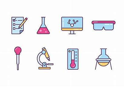 Lab Vector Icons Equipment Objects Cartoon Clipart