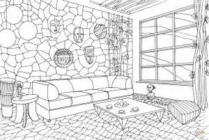living room in african style coloring page free With interior design coloring books