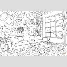 Living Room In African Style Coloring Page  Free