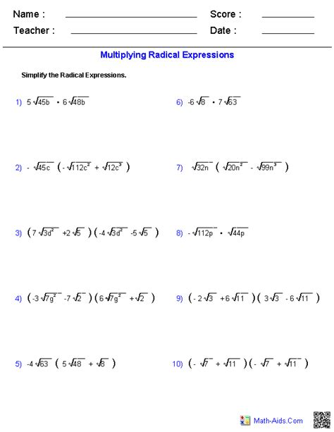 simplifying algebra worksheet and answers exponents and radicals worksheets exponents radicals