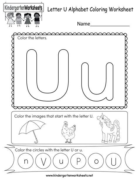 Letter U Coloring Worksheet  Free Kindergarten English Worksheet For Kids