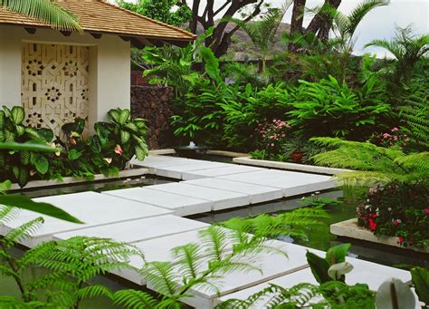 tropical garden bed tropical landscape yard with pathway fence beech fern modern concrete walkway pond tropical