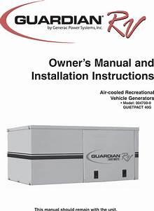 Generac Power Systems Guardian Rv 004700 00 Users Manual