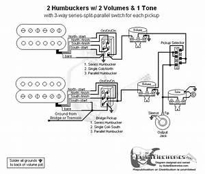 2 Humbuckers  3 2 Volumes  1 Tone  Series