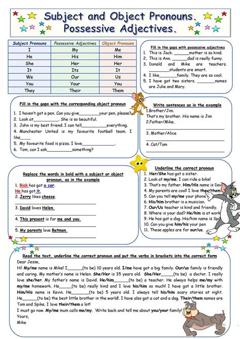 subject and object pronouns possessive adjectives worksheet free esl printable worksheets