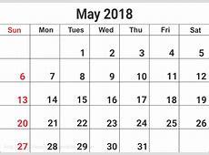 May 2018 Calendar Word, Excel, PDF May 2018 Calendar