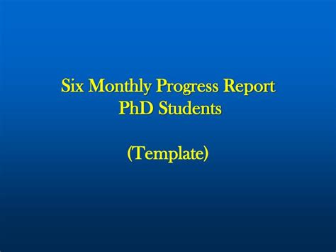 monthly progress report phd students template