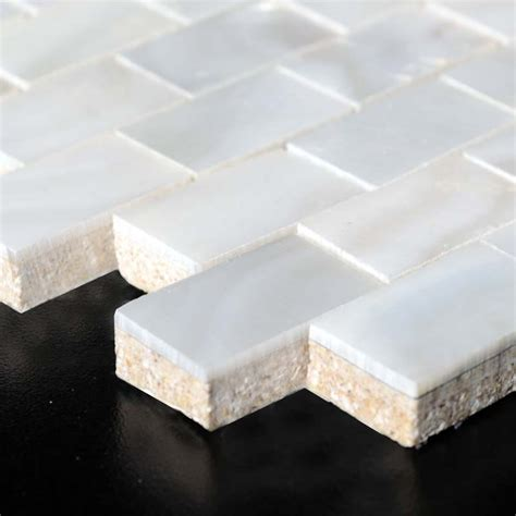 of pearl subway tile of pearl mosaic with porcelain base white