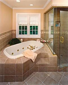 Elegant, Tile, Spa, Bath, With, Glass, Enclosed, Attached, Shower