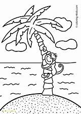 Coloring Pages Island Nature Palm Printable Monkey Tropical Trees Tree Ellis Palma Sheet Drawings Monkeys Children Inside Sheets Colour Getdrawings sketch template