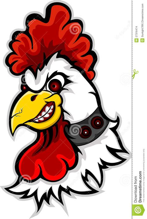 angry rooster head cartoon stock illustration