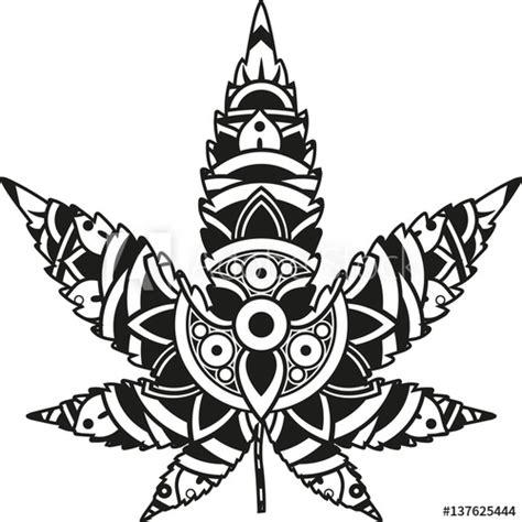 vector illustration   mandala marijuana leaf silhouette