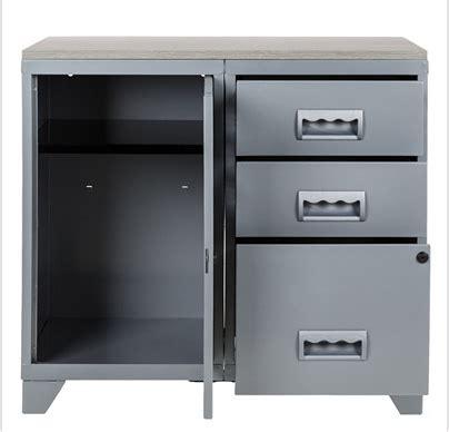 meuble bureau metal meuble bureau m 233 tal 1 porte 3 tiroirs aluminium