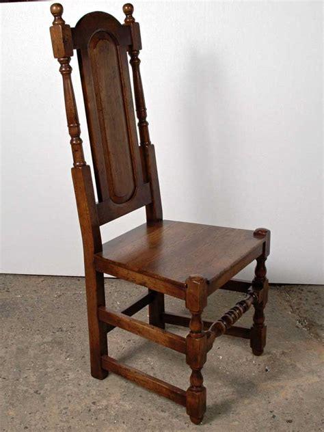 set  english elizabethan tudor oak dining chairs chair
