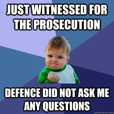 Any Questions Meme - just witnessed for the prosecution defence did not ask me any questions success kid quickmeme
