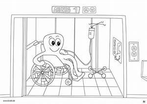 Krake Sitzt Mit Rohlstuhl Im Aufzug Ausmalbild