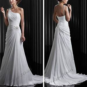 new one shoulder white chiffon beach wedding dress bridal With white chiffon wedding dress