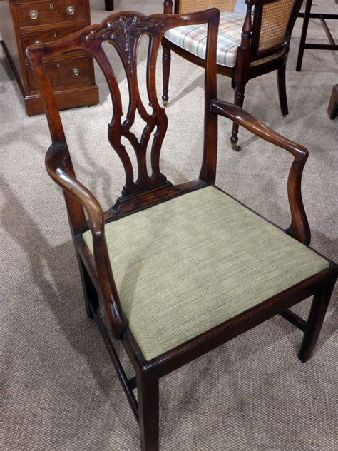 antique chippendale period arm chair mahogany carver