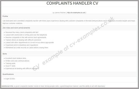 Cv Writing Tips by Complaint Handler Cv Exles Cv Writing Tips Cv