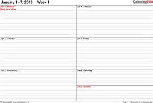 2018 Weekly Calendar Templates Printable Free