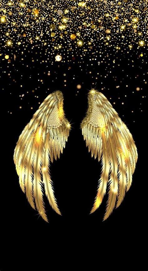 black  gold galaxy  screen savers angel wallpaper