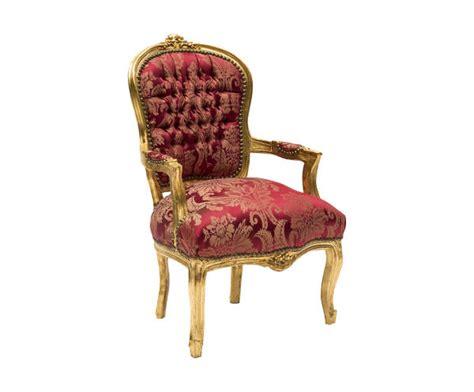 Poltrona Sedia Barocco Oro Tessuto Rosso