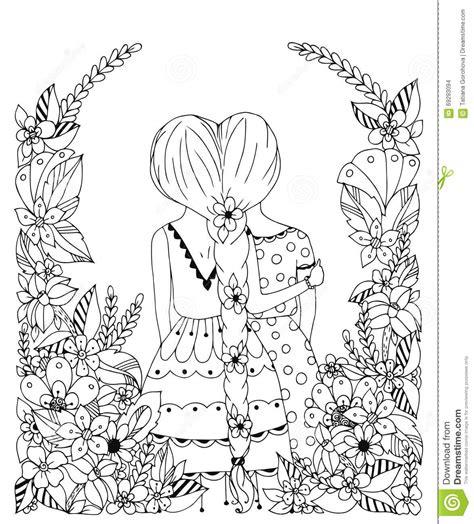 bff disegni amiche facili vector illustration zentangl friend in a flower frame