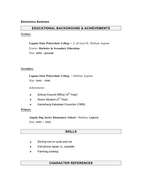 Tertiary Secondary Primary Education Resume by Sle Resume