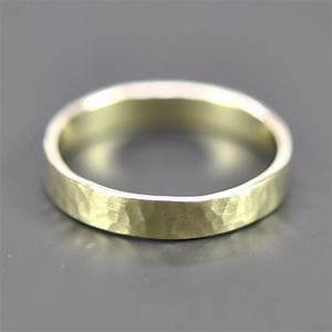 14k green gold ring 4mm wide hammered wedding band or fashion for Green wedding ring