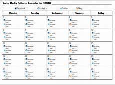 Social Media Content Calendar Examples Printable