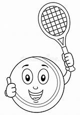 Tennis Coloring Racket Ball Happy Cartoon Character Illustration Funny Background Isolated Eps Holding Dreamstime sketch template