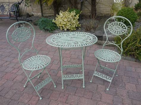 folding metal garden furniture 2 chairs oval table bistro