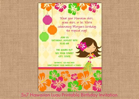 luau clip art hawaiian luau printable birthday invitation by papercreationsbyjen party ideas