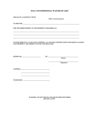 material waiver  lien form fill  printable