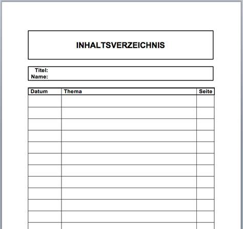 zum ausdrucken inhaltsverzeichnis vorlagen formulare
