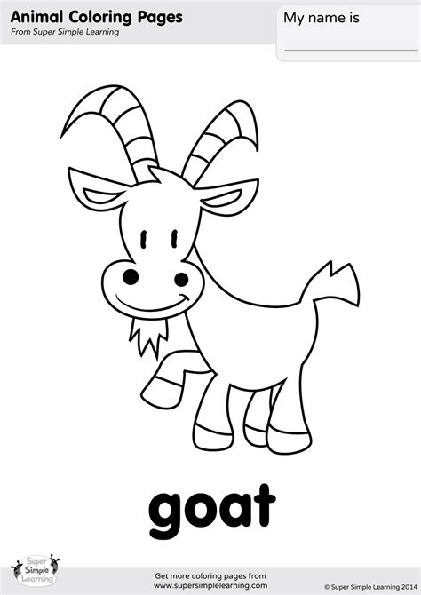 goat coloring page super simple