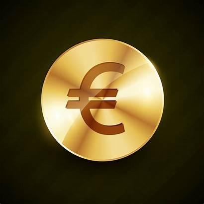 Euro Symbol Coin Vector Golden Shiny Premium