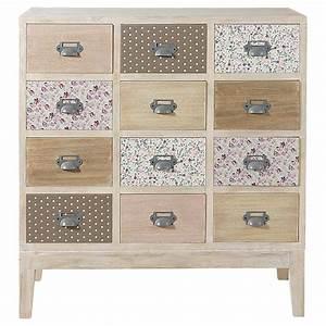 Commode 12 Tiroirs : cabinet commode 12 tiroirs en bois l 75 cm pimprenelle maisons du monde ~ Teatrodelosmanantiales.com Idées de Décoration