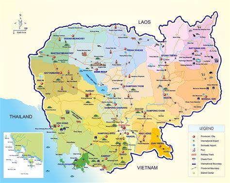 maps  cambodia detailed map  cambodia  english