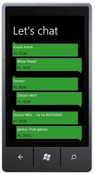 conversation baloon template implementing a windows phone 7 conversation view
