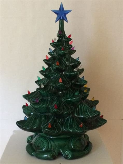 vintage atlantic mold ceramic christmas tree base 18 quot multi colored lights ebay
