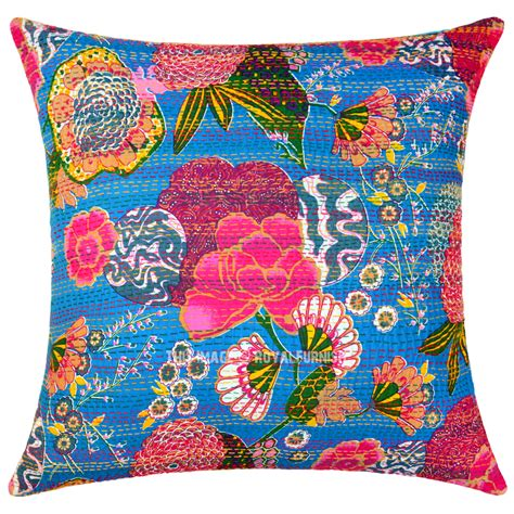Throw Pillows by Large Blue Decorative Accent Kantha Throw Pillow Cover