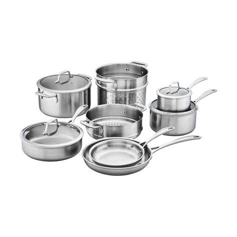 cookware zwilling stainless steel spirit henckels pc ply tri piece ceramic nonstick sets wmf kitchen pan box homedepot