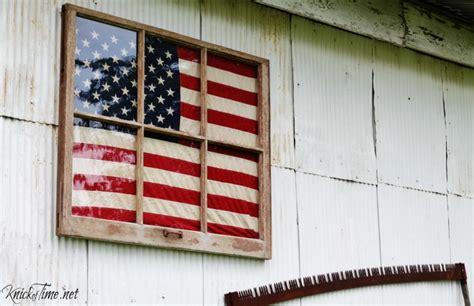antique window framed flag display knick  time