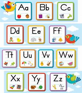 boho birds alphabet mini bulletin board set grade pk 2 With large alphabet letters for classroom wall