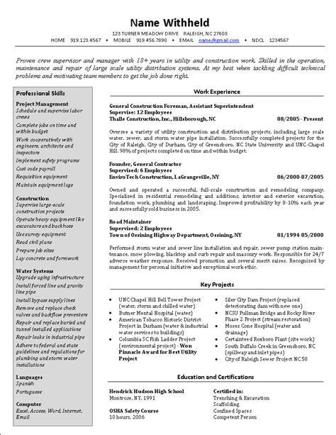 16346 resume for exles crew supervisor resume exle sle construction