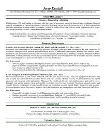 resume for bank credit manager exle credit manager resume free sle