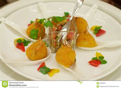 crab canapes delicious crab canapés starters stock photo image